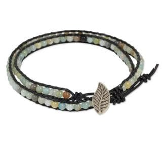 Handmade Silver Leather 'Hill Tribe Dew in Black' Amazonite Bracelet (Thailand)