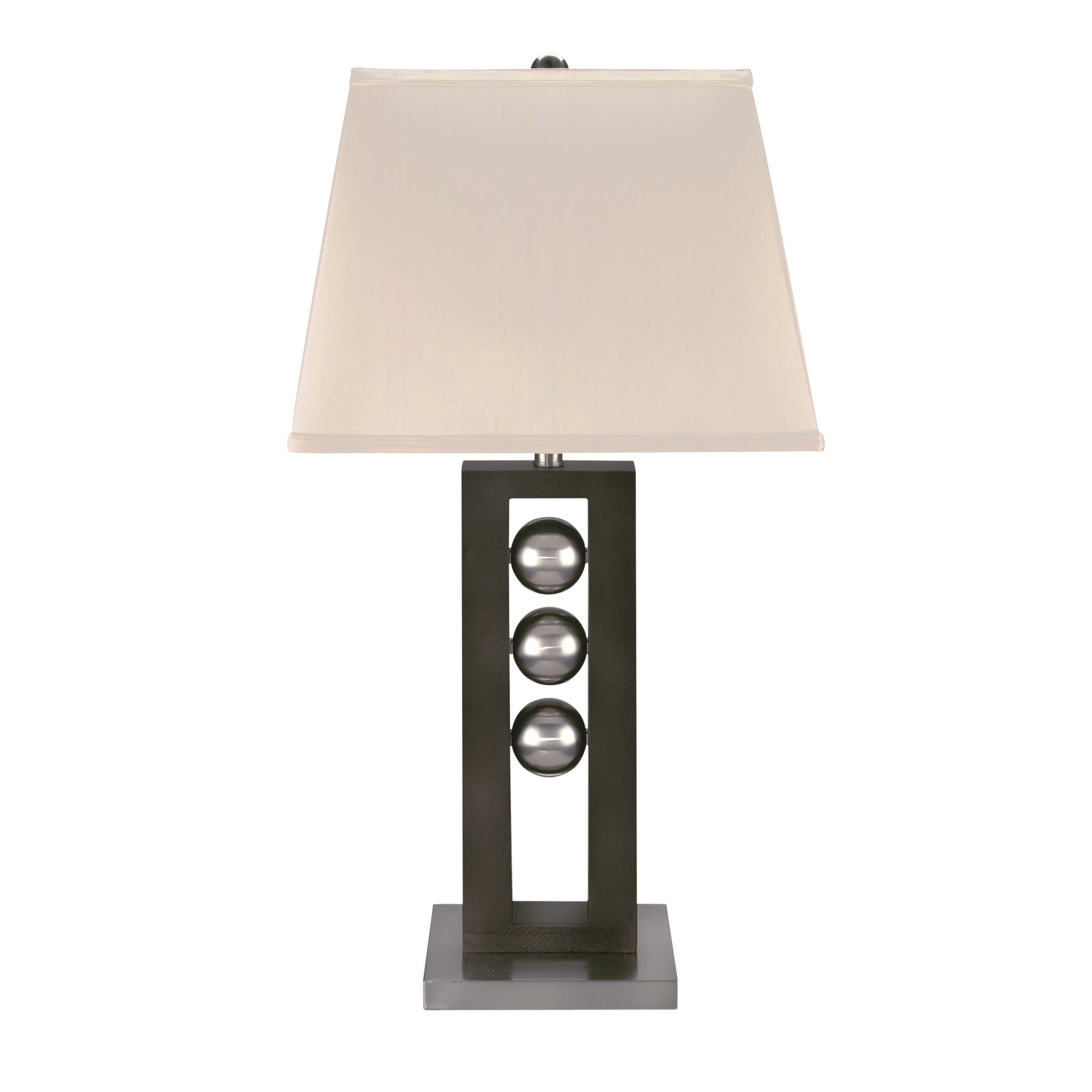 Lite Source Pelota Table Lamp (Polished Steel, Dark Walnu...