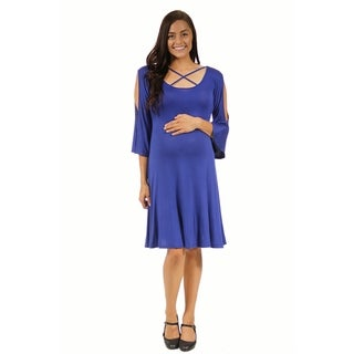 24/7 Comfort Apparel Women's Maternity Neck-Split Sleeve Dress