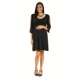 24/7 Comfort Apparel Women's Maternity Neck-Split Sleeve Dress