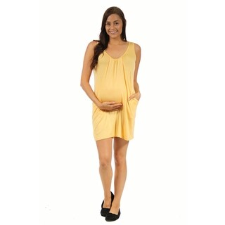 24/7 Comfort Apparel Women's Maternity Drape Front Tank Dress