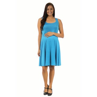 24/7 Comfort Apparel Women's Maternity Sleeveless Tank Knee-Length Dress