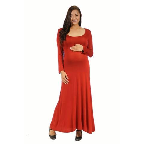 24/7 Comfort Apparel Women's Maternity Long Sleeve Scoop Neck Maxi