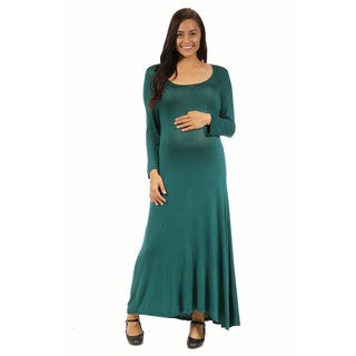 24/7 Comfort Apparel Women's Maternity Long Sleeve Scoop Neck Maxi
