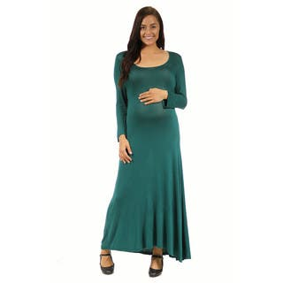 24/7 Comfort Apparel Women's Maternity Long Sleeve Scoop Neck Maxi|https://ak1.ostkcdn.com/images/products/10196068/P17320656.jpg?impolicy=medium