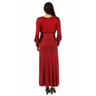 24/7 Comfort Apparel Women's Maternity Long Sleeve Empire Maxi Dress