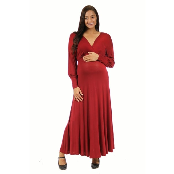 8a57c133b08 24 7 Comfort Apparel Women  x27 s Maternity Long Sleeve Empire Maxi Dress