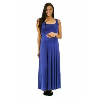 24/7 Comfort Apparel Women's Maternity Scoop-Neck Tank Maxi Dress