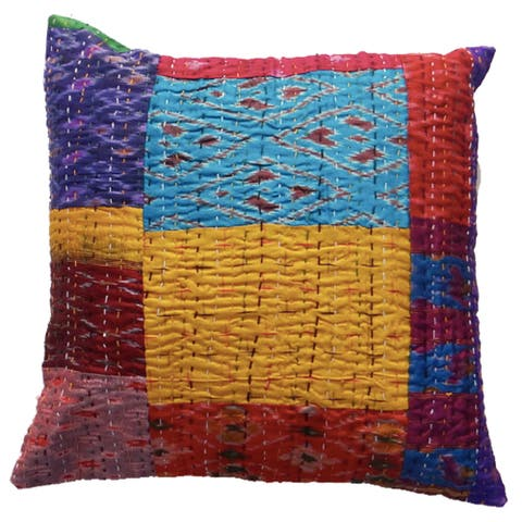 "Handmade 24"" Silk Kantha VIntage Cushion Cover (India)"