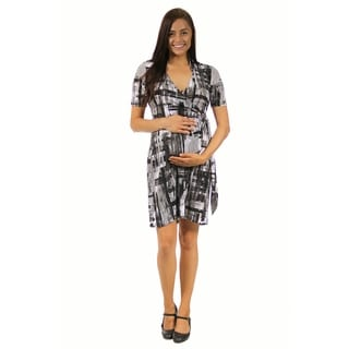24/7 Comfort Apparel Women's Abstract Maternity Gray Wrap Dress