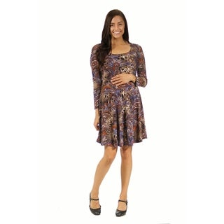 24/7 Comfort Apparel Women's Animal Paisley Print Maternity Dress