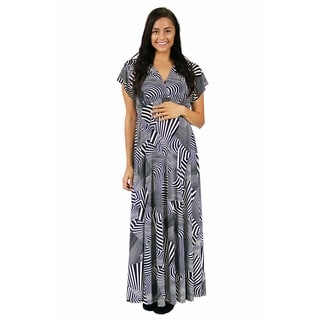 24/7 Comfort Apparel Women's Maternity Black and White Abstract Wrap Dress