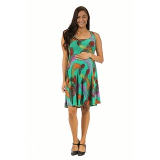 24/7 Comfort Apparel Women's Maternity Feather Print Sleeveless Tank Dress