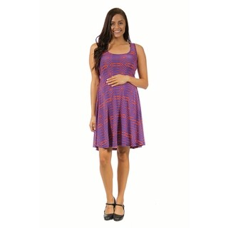 24/7 Comfort Apparel Women's Maternity Abstract Blue&Orange Printed Tank Dress