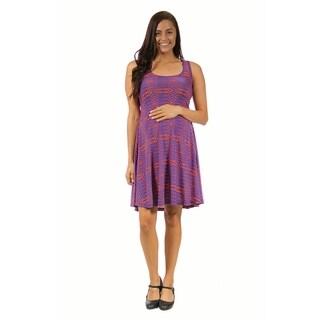 24/7 Comfort Apparel Women's Maternity Abstract Blue&Orange Printed Tank Dress