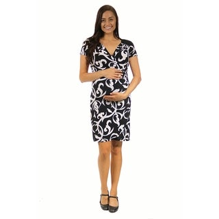 24/7 Comfort Apparel Woman's Black&White Abstract Print Faux Maternity Wrapped Dress