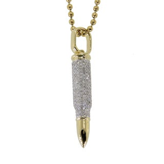 10k Yellow Gold 1 1/6ct TDW Diamond Bullet Necklace (G-H, I2-I3)