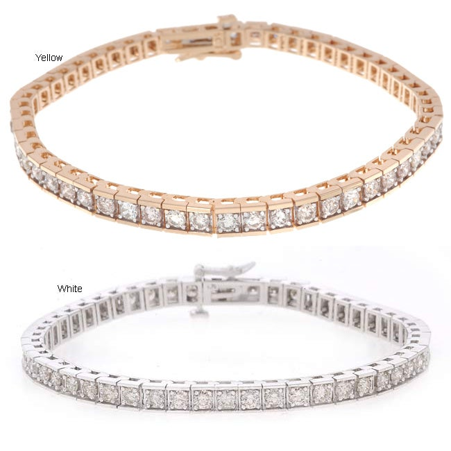 14k Gold 5ct Diamond Tennis Bracelet (I-J, SI2 )