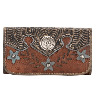American West Antique Brown Desert Wildflower Tri-Fold Wallet