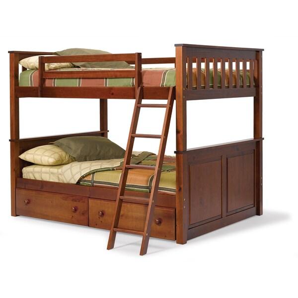 woodcrest pine ridge full/full mission bunk bed - free shipping