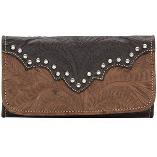 American West Smooth Silver Annies Secret Tri-Fold Wallet