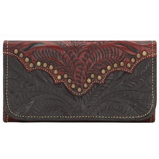 American West Distressed Crimson Annies Secret Tri-Fold Wallet