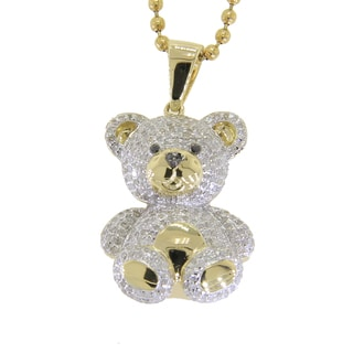 10k Yellow Gold 1 1/10ct TDW Black and White Diamond Teddy Bear Necklace (G-H, I2-I3)