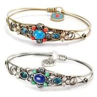 Sweet Romance Vintage Blue Green and Coral Bangle Bracelet