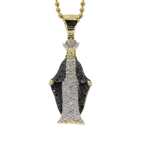 10k Yellow Gold 7/8ct TDW Blue and White Diamond Mother Mary Necklace
