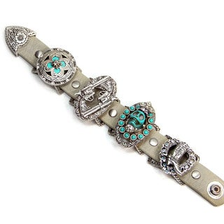 Sweet Romance Southwest Leather Concho Turquoise Skull Guns Boot Bracelet
