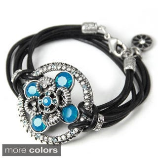 Sweet Romance Leather Wrap Boho Medallion Swarovski Bracelet\