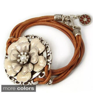 Sweet Romance Western Enamel Desert Flower Leather Wrap Bracelet