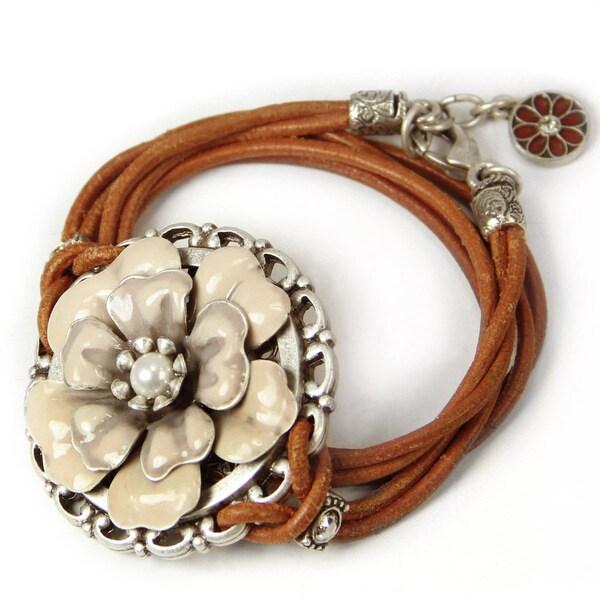 Sweet Romance Western Enamel Desert Flower Leather Wrap Bracelet