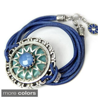 Sweet Romance Medallion Leather Wrap Bracelet