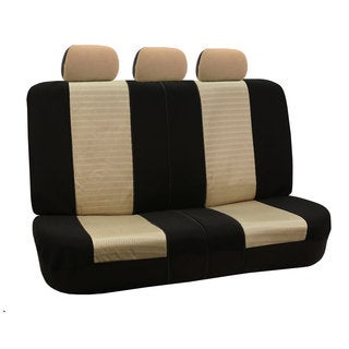 FH Group Beige and Black Deluxe 3D Air Mesh Split Auto Bench Seat Cover