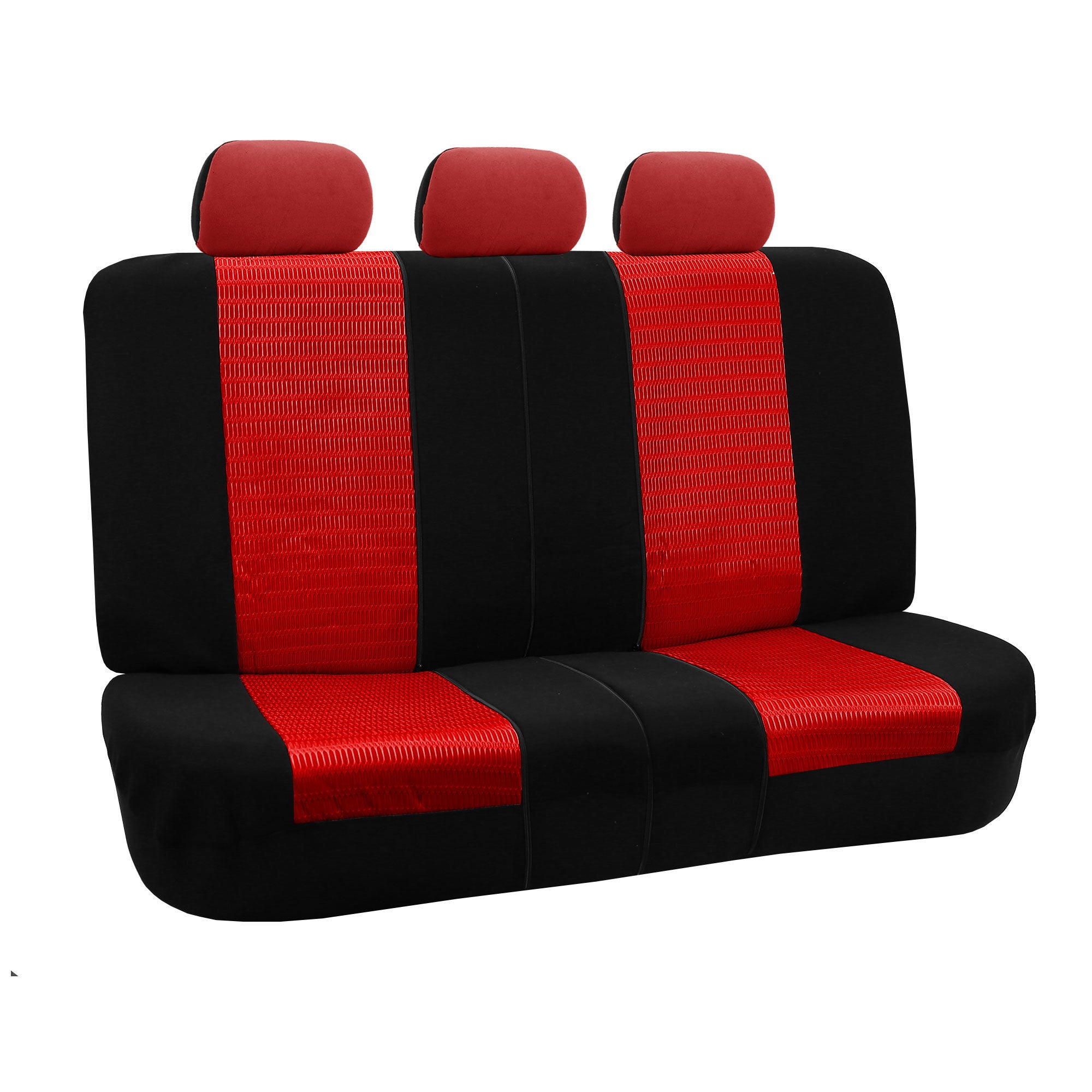 FH Group Red and Black Deluxe 3D Air Mesh Split Auto Benc...