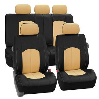 FH Group Beige Perforated Leatherette Auto Seat Covers (Full Set)