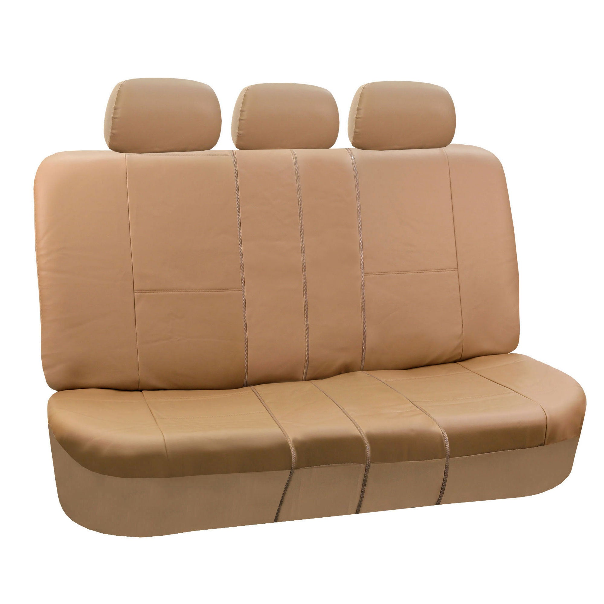 FH Group Tan PU Leather Split Bench Auto Seat Covers (Tan)