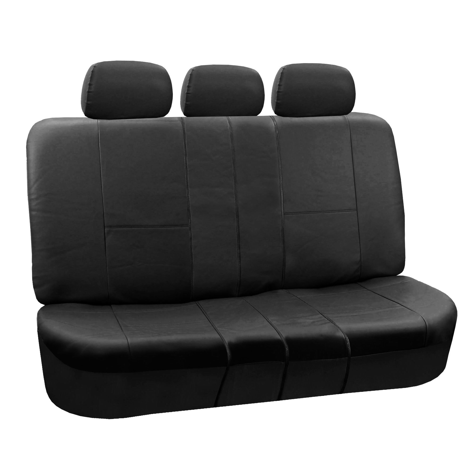 FH Group Black Faux Leather Split Bench Automotive Seat C...