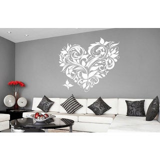 Swirly Heart Love Vinyl Sticker Wall Art