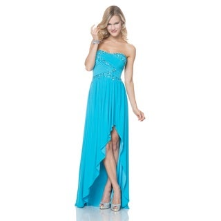 Bari Jay Juniors' Turquoise Criss-cross Beaded Bodice High-low Evening Dress