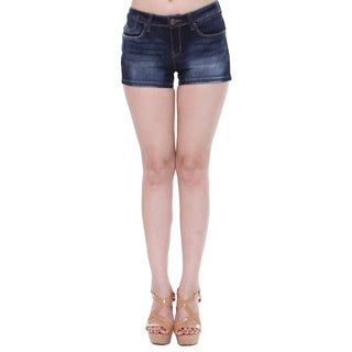 Tri Angel Women's T3007-S Mid-rise Distressed Dark Denim Shorts