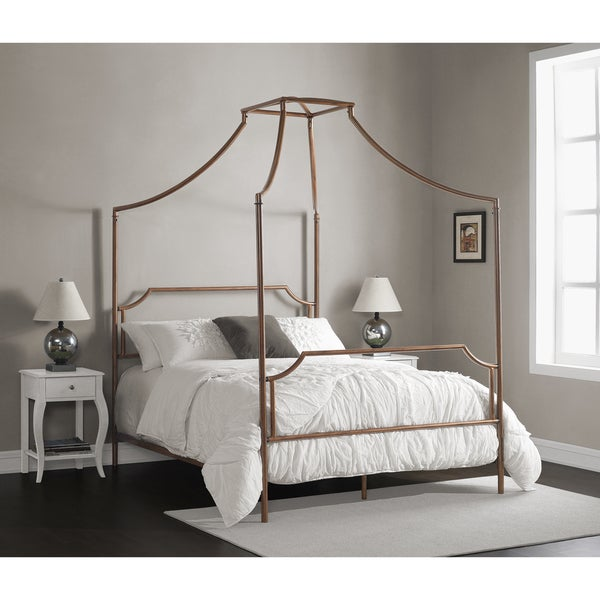 The Curated Nomad Bailey Brushed Dark Copper Colored Full-size Canopy Bed. Opens flyout.