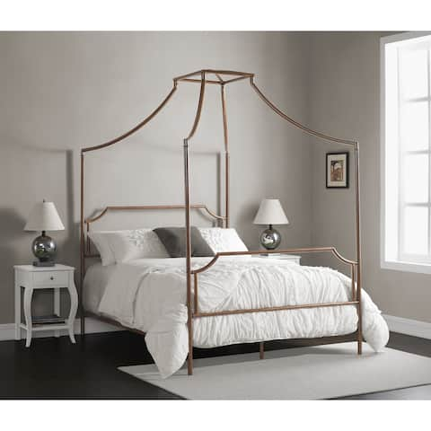 The Curated Nomad Bailey Brushed Dark Copper Colored Full-size Canopy Bed