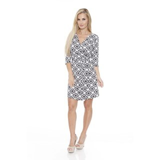 White Mark Women's 'Mariah' Batik Print Wrap Dress