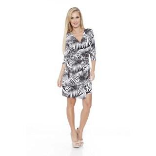 White Mark Women's 'Mariah' Hawaiian Print Wrap Dress