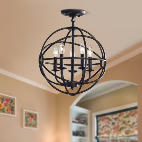 Copper Grove St. Mary Antique Black 5-light Iron Orb Flush Mount