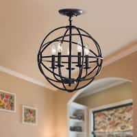 Carbon Loft Bidwell Antique Black 5-light Iron Orb Flush Mount
