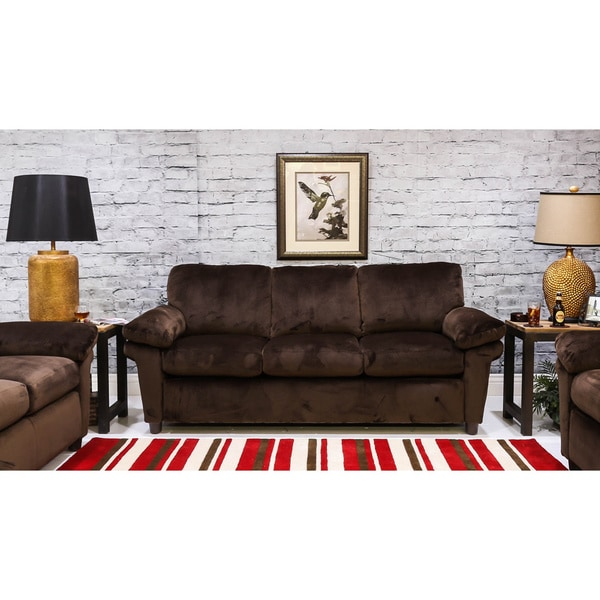 Shop Somette Katy Microfiber 84 Inch Ups Able Sofa Free Shipping