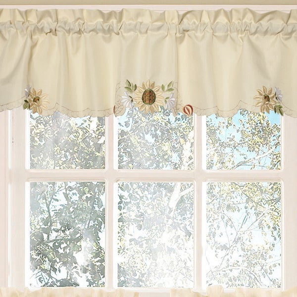 Perfect Embroidered Sunflower Kitchen Curtains Separates   Free Shipping On Orders  Over $45   Overstock.com   17323401